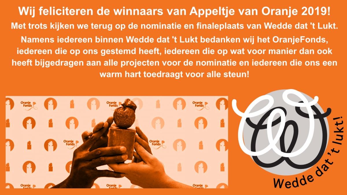 Appeltjes van Oranje - Felicitatie Winnaars